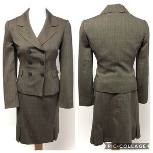 Tahari two piece skirt blazer suit work brown 6P